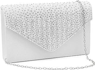 Milisente Clutch Damen, Glitzer Elegante Clutch Umschlag Crossbody Klassisch Clutch Tasche Abendtasche (Off Weiß)