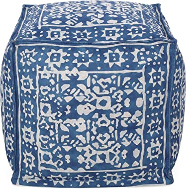 Christopher Knight Home Pauline Contemporary Fabric Cube Pouf, Blue + White