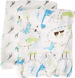 Manta de sillín de 70 % bambú y 30 % algodón, diseño de dinosaurios y jirafas, juego de 2 unidades