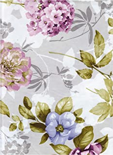 American Plastics Floral Vinyl Tablecloth Flannel Backed, Hydrangea and Pansy Flower Print Table Cover 52 x 104 Rectangle