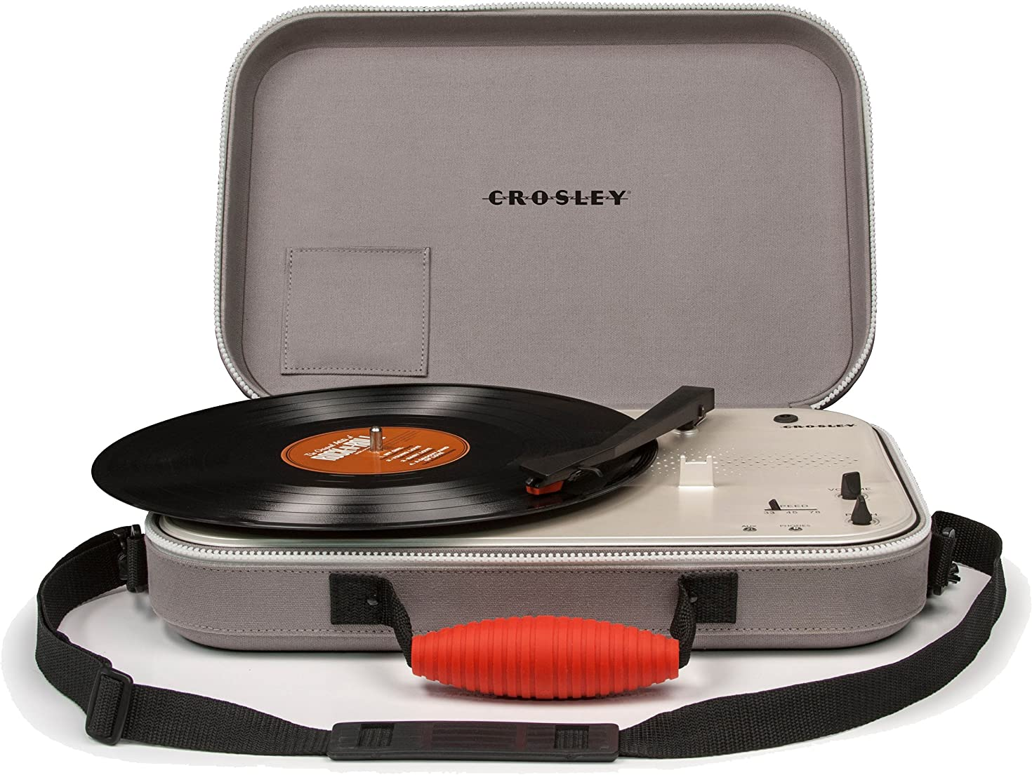 Crosley CR8016A-GY Messenger Portable Battery Powered 3-Speed Turntable, Gray