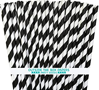 NYKKOLA Striped Paper Black White-7.75 Inches Disposable Drinking Straws, Black & White, 100 Count