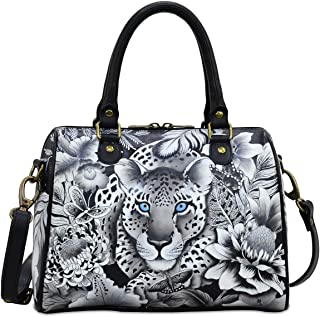 Hand Painted Leather Women's Zip Around Classic Satchel
