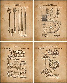 Drum Set Patent (1909-1964) 4 Prints - Snare - Base Peddle Pad - Cymbals & Drum Sticks - Man Cave Decor