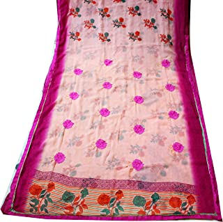 Indian Bridal Saree Women Craft Fabric Floral Printed Sewing Georgette Used Vintage Sari Scrap Curtain Drape Home Decor Beige Red Fabric