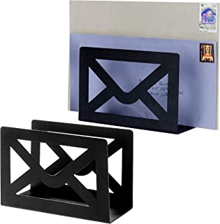 MyGift Desktop Cutout Envelope Design Black Metal Letter Holder, Set of 2