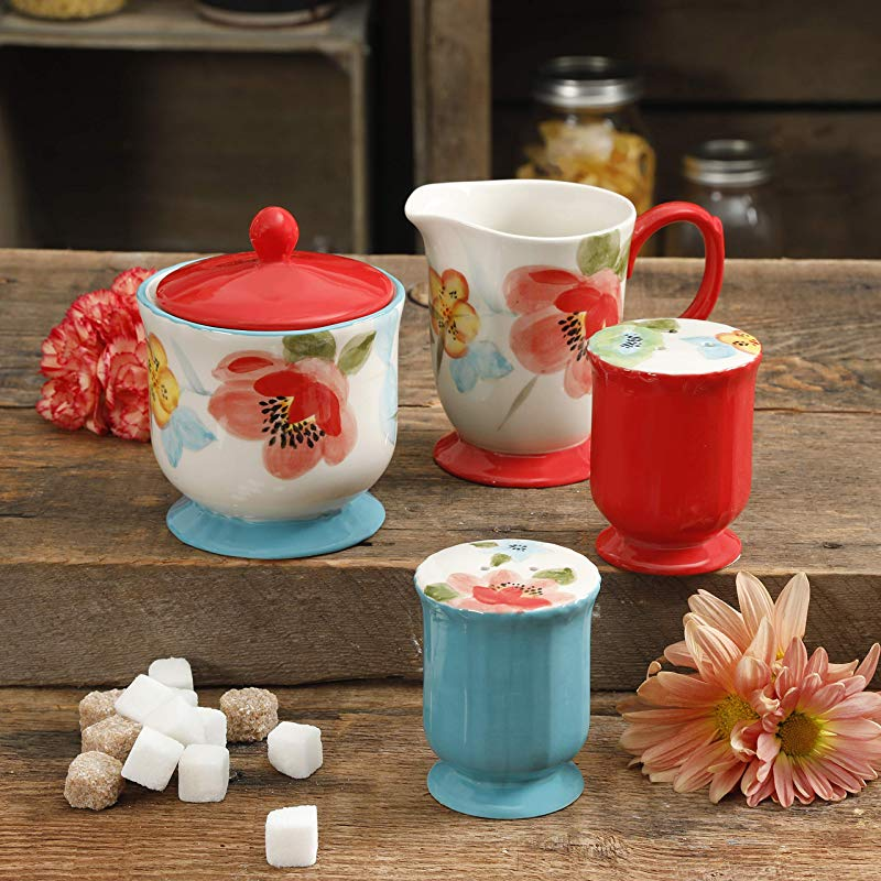 The Pioneer Woman Vintage Floral Bloom 5 Piece Sugar And Creamer Salt Pepper Set