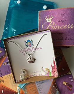 Smiling Wisdom - My Pretty Princess Necklace Gift Set, Interchangeable Pendants, Charm & Origami Fortune Teller Game - Girls, Tween, Daughter - Birthday, Holiday Gift - Silver, Pink, Multicolored