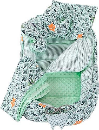 5 éléments Cocon de Bébé 90x50cm 100% Coton Baby Nest Medi Partners Reducteur de lit Bébés Oreiller Couverture Insert...