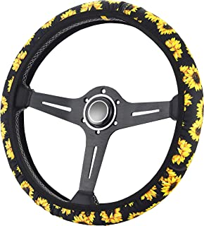 Zadin Sunflower Steering Wheel Cover | Cute and Fashionable Sunflower Steering Wheel Cover, Universal Steering Wheel Cover, Sunflower car Accessories