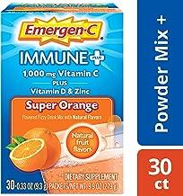 Emergen-C Immune+ Vitamin C 1000mg Powder, Plus Vitamin D And Zinc (30 Count, Super Orange Flavor, 1 Month Supply), Immune Support Dietary Supplement Fizzy Drink Mix, Antioxidants & Electrolytes