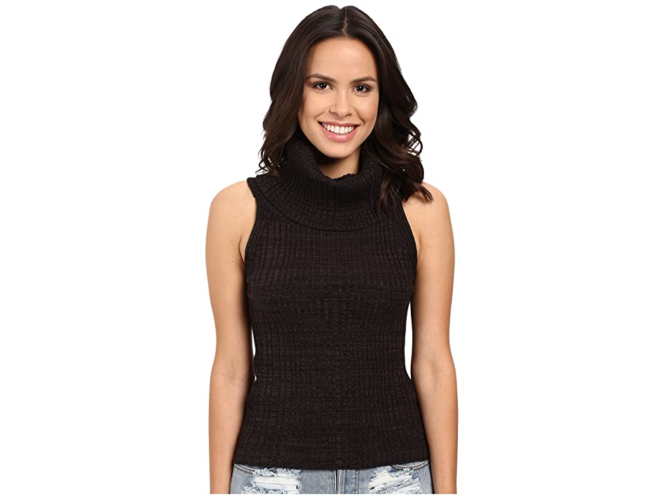Free People Carly Cowl Solid Sweater (Black) Women