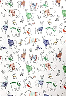 Whimsical Woodland Animal Creatures Llama Bear Fox Owl Rabbit Adorned in Colorful Winter Sweaters Christmas Holiday Gift Present Wrapping Paper