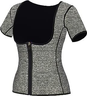 Women Neoprene Sauna Sweat Waist Trainer Vest for Weight Loss Gym Workout Body Shaper Tank Top Shirt with Zipper