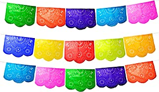 Fiesta Brands 50 Panel Pack. Mexican Papel Picado Banner.Colores de Primavera.Over 75 feet Long for Maximum Coverage. Vibrant Colors Tissue Paper. Medium Size Panels. Multicolored Flowers Design