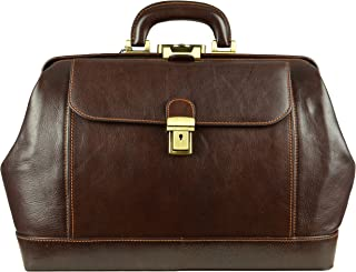 Time Resistance Leather Doctor Bag with Key Lock | Medical, Hand Dyed by Vegetable Tanning, Satchel, Briefcase, Unisex