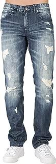Level 7 Men's Premium Denim Jeans Slim Tapered Leg Medium Stone Destroyed Mended
