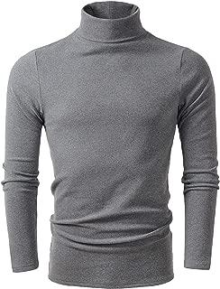 Men's Soft Cotton Turtleneck Tops Basic Layering Thermal Tee