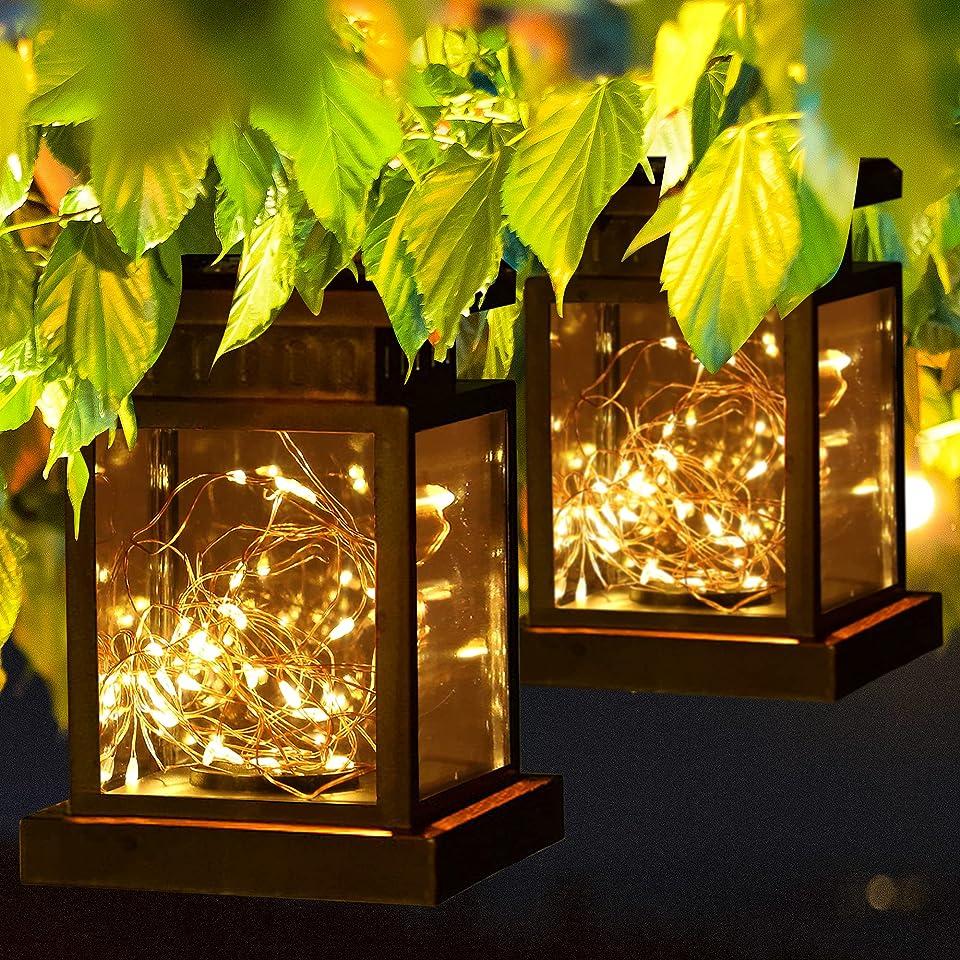 Solarlaterne für Außen, 2 Stück 30LED Mini Solar Laterne mit Lichterkette, Solarlampen Hängend Laterne für Garten, IP65 Wasserdicht Solarlampe für Innen/Außen, Rasen, Hochzeit, Party, Terrasse Dekor
