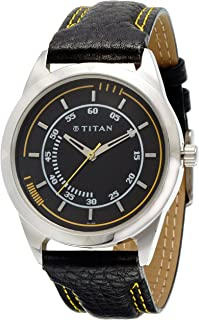 TITaN Gents's Black Dial Color Leather Strap Watch - 1590SL03