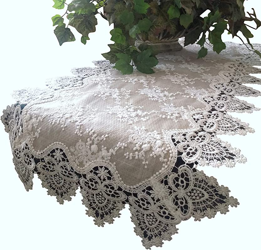 Galleria Di Giovanni Lace Dresser Scarf Table Runner Doily Neutral Burlap Natural Taupe Antique Ivory Victorian 37 Inch
