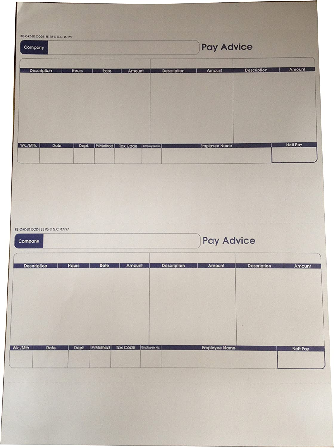 Custom Forms NEW before selling SE95S 1 Part Inkjet Payslip of Limited time sale Pack Laser 500