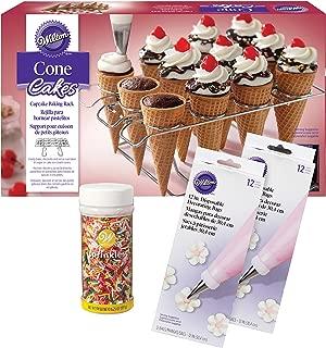Wilton Ice Cream Cone Cupcakes Decorating Kit, 26-Piece - Decorating Bags, Sprinkles, Cupcake Cone Baking Rack