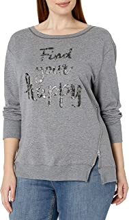 JUST MY SIZE Women`s Plus Size Side Zip Sweatshirt