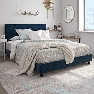 DHP Carley Upholstered Bed, Queen, Blue Velvet