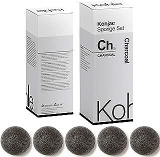 Charcoal Konjac Sponge Set: Organic Skincare Face & Body Cleansing + Exfoliating Sponges, (5 Pack) 100% Pure & Natural #1 U.K. BESTSELLER