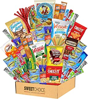 Snack Box Variety Pack (40 Count) Candy Gift Basket - College Student Care Package, Prime Food Arrangement Chips, Cookies,...