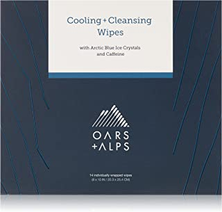 Oars + Alps Natural Face and Body Wipes | Cooling, Cleansing, Exfoliating, Caffeinated, 14 Count