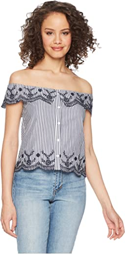 Kaelin Eyelet Detailed Off the Shoulder Top