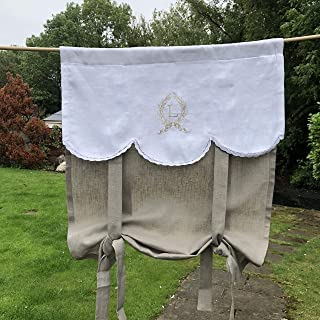 Personalized French Tie Up Curtain Natural Flax Linen Door Custom Monogram