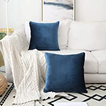 HOME BRILLIANT Set of 2 Velvet Throw Pillow Covers Square Decorative Cushion Cover Pillowcases for Sofa Bench Couch, 45 x ...