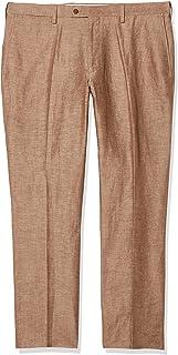 سروال رجالي Louis Raphael عصري مصنوع من خليط من الكتان بمقدمة مسطحة من الأمام، قمح، 40x32