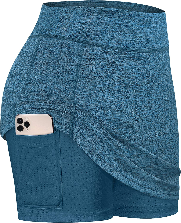 BLEVONH Women Tennis Skirts Inner Shorts Elastic Sports Golf Sko
