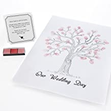 Ginger Ray AF-604 Vintage Wedding Fingerprint Tree Canvas With Inks & Instructions For Weddings, White