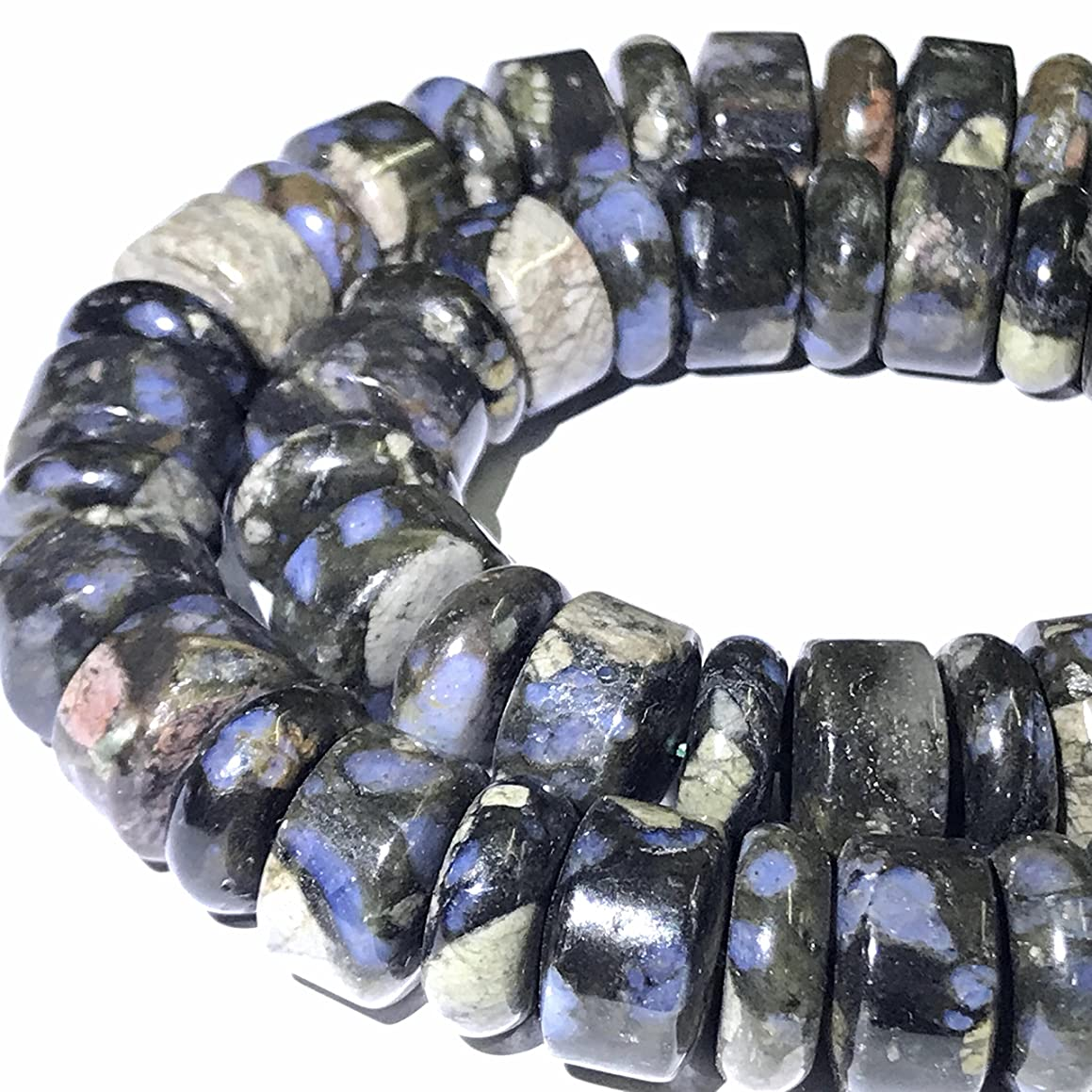 [ABCgems] Rare Brazilian Blue Rhyolite AKA Black Opal (Exquisite Color- Beautiful Matrix) 14mm Smooth Heishi & Rondelle Beads for Beading & Jewelry Making