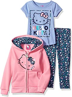 01c721d185 Hello Kitty Girls  3 Piece Zip up Hoodie Legging Set with T-Shirt and