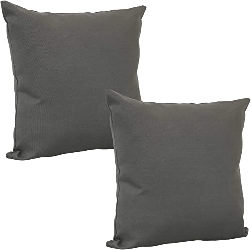 Sunnydaze Set of 2 Outdoor Decorative Throw Pillows - 15-Inch Square Polyester Accent Toss Pillows for Patio Furniture - Pillow Set for Outside Bench, Chair and Loveseat - Gray