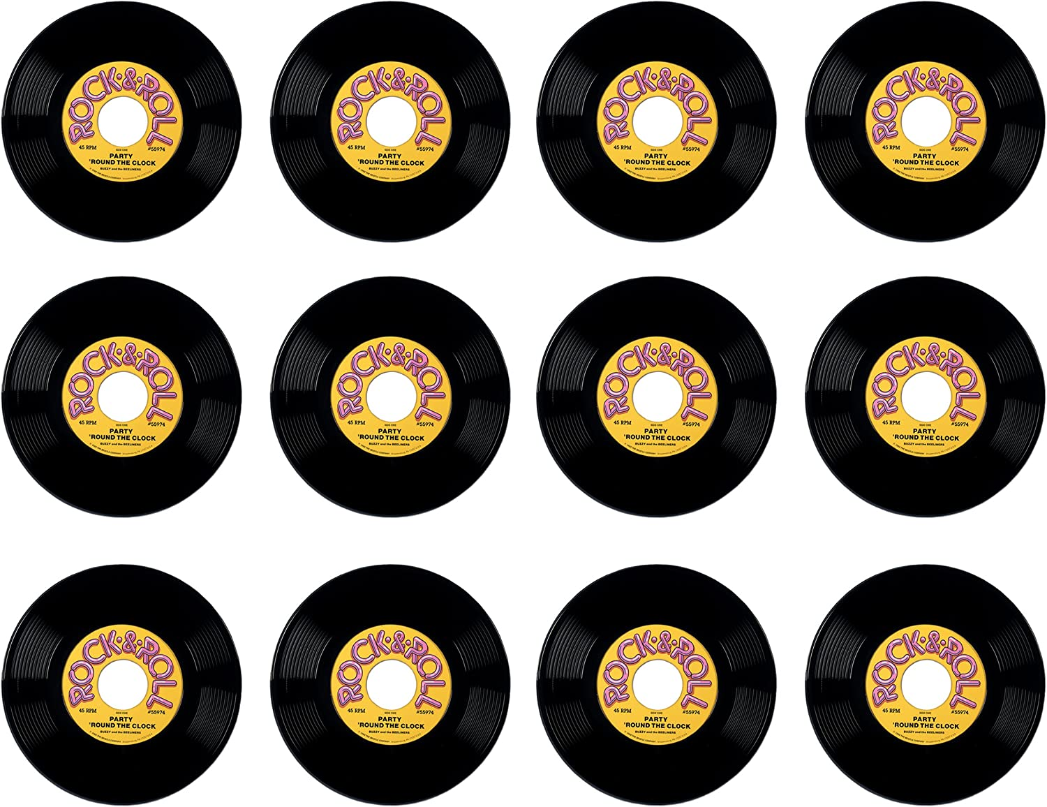 Beistle 55974 12-Pack Plastic Records, 19-Inch