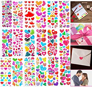 BeYumi 20 Sheets Valentines Heart Stickers for Kids and Adults, 400+ Different Piece, Great for Colorful Decorations, Party Supplies Favors, Birthday Gift, Reward Stickers