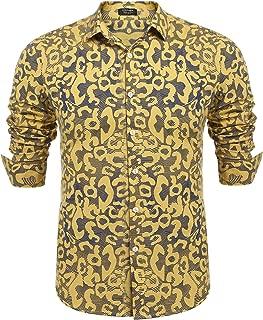 Men's Floral Print Casual Long Sleeve Shirts Slim Fit Button Down Dress Shirt
