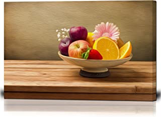 wall26 - Canvas Wall Art - Vase with Fresh Fruits and Flowers on Wooden Table - Oil Painting Style Giclee Print Gallery Wrap Modern Home Decor Ready to Hang - 16