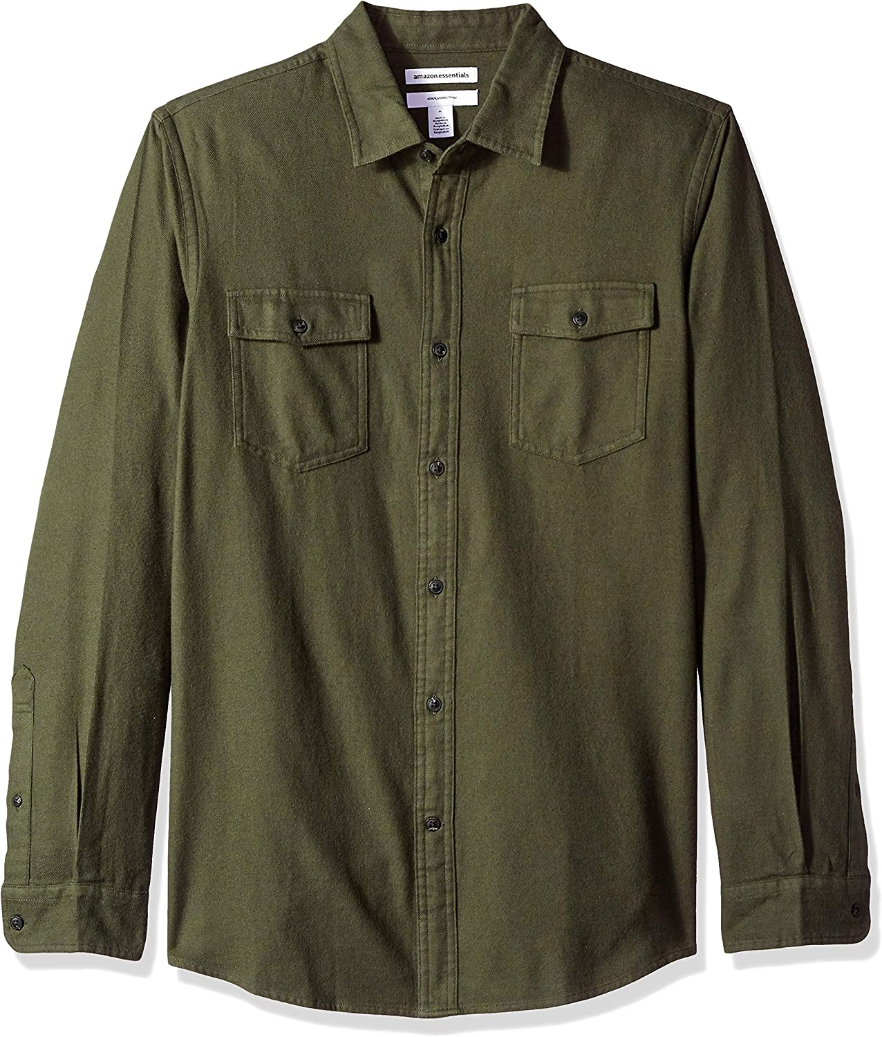 1940s Men's Shirts, Sweaters, Vests Amazon Essentials Mens Slim-Fit Long-Sleeve Two-Pocket Flannel Shirt $20.70 AT vintagedancer.com