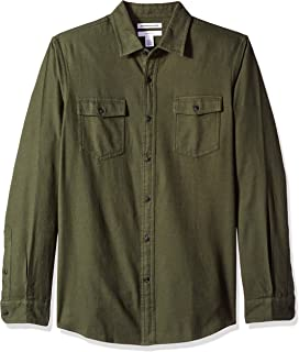 Men's Slim-Fit Long-Sleeve Two-Pocket Flannel Shirt