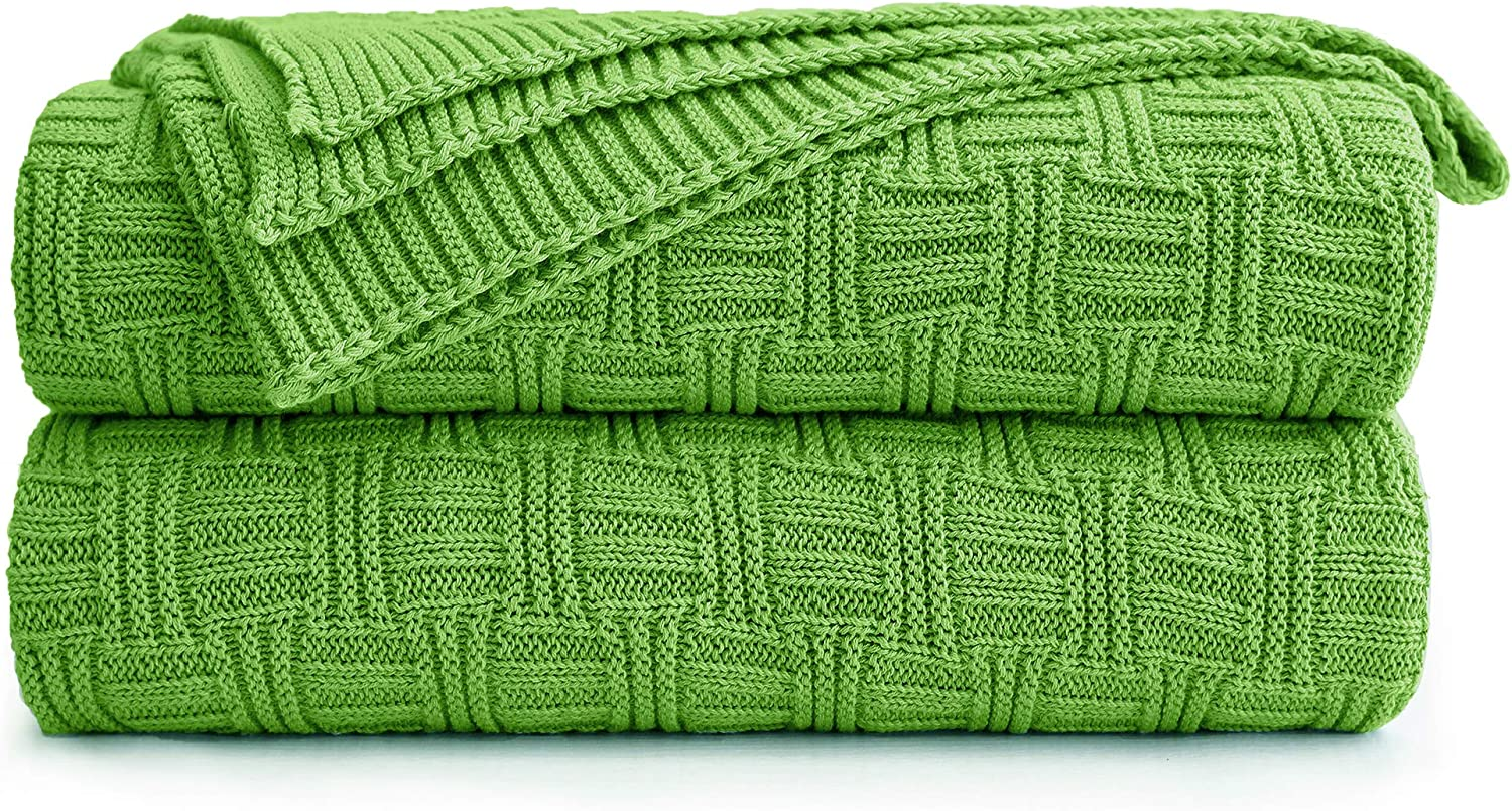 Cotton Cable Green Knit Throw Blanket for Couch Chairs Bed Beach, Home Decorative Throws Blankets, 50 x 60 Inch, 2.2lb