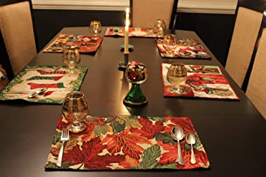 Tache 4 Piece Autumn Orange Brown Thanksgiving Leaves Fall Foliage Tapestry Woven Kitchen Dining Table Placemat Set