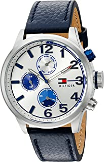 Tommy Hilfiger Men's Silver Dial Leather Band Watch - 1791240